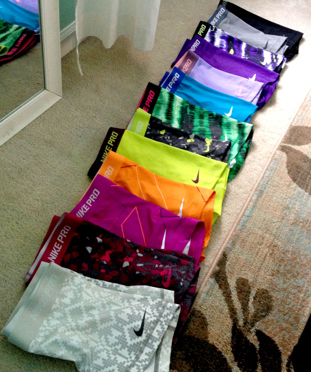 mygetthinproject:  me and my sisters collection of nike pros