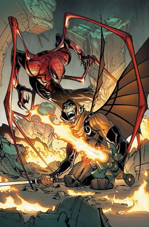 Here we get to see Ock-Spidey's new costume on the cover of Superior Spider-Man #15, cover art by Humberto Ramos.   How disgusting.