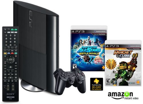 gamefreaksnz:  PS3 250GB Family Entertainment Bundle List Price: $399.99 Price: $279.99 You Save: $120.00 (30%)  Over $100 in savings with the PlayStation 3 Amazon Exclusive Bundle, Shipping weight : 6.85 lbs. Includes: 250GB PS3 System, PlayStation All-Stars Battle Royale, the Ratchet and Clank Collection, Media/Blue-Ray Disc Remote Control and $20 AIV Credit The Ratchet and Clank Collection Includes: Ratchet & Clank, Ratchet & Clank: Going Commando, Ratchet & Clank: Up Your Arsenal The Ratchet and Clank Collection includes two vouchers: good for 10th Anniversary Ratchet & Clank Avatar and good for early access to the Sly Cooper: Thieves in Time Demo Register your PlayStation 3 with AIV to start watching over 120,000 movies and TV episodes, available to rent or purchase