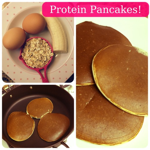 muffintop-less:  Simple Protein Pancakes: 1 Scoop Whey (flavor of choice, I used Vanilla) 2 Egg Whites 1/4 Cup Oats 1/2 Large Banana (substitutions below) 1 TB Unsweetened Vanilla Almond Milk 1/8 teaspoon of Baking Powder 1/2 teaspoon of Cinnamon (optional) Directions: Put all ingredients into blender or magic bullet and blend until smooth. Allow the batter to set for about 5 minutes. Heat up a skillet or pan and spray with non-stick spray. Pour batter onto skillet (batter makes 2-3 normal sized pancakes). Let it cook for about 2-3 minutes or until bubbles appear. Flip and cook for an additional 2-3 minutes until cooked fully. Check out my website for alternatives! Click Here! =)