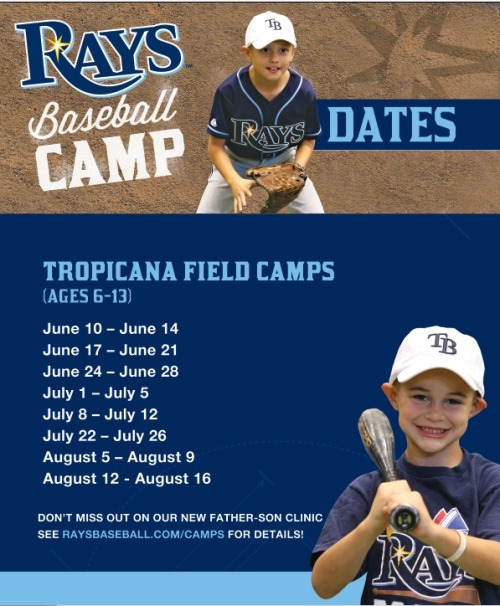 Looking for something fun to have the kids in your life do this summer? Rays Summer Baseball camps are back! They can play where their favorite Rays players play, and create their very own moments.  Here is all the info you will need! www.raysbaseball.com/camps