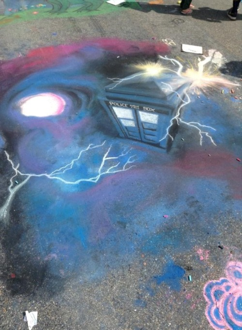 party-at-the-tardis:  8bitmickey:  So… yeah. Somebody sidewalk chalked this.  This better be immortalized on Tumblr you motherfuckers  I interrupt my friend's SPG Dashboard with this AMAZING chalk art. Somehow, I think she won't mind as it really is that nifty. When the hell will the DW Tumblr pick THIS up to reblog? Hmmmm?