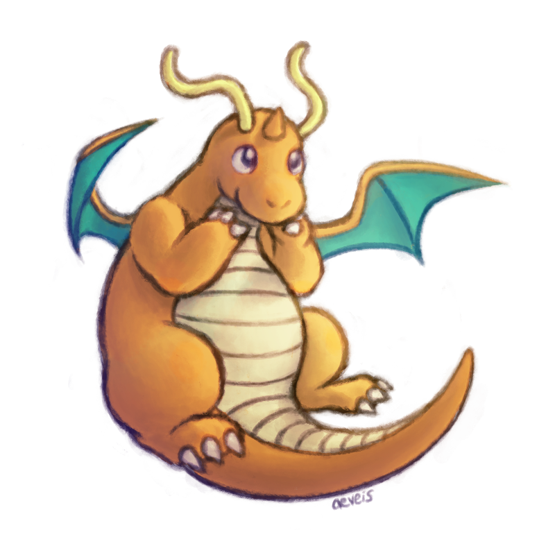 dragonite being cute. same method again but more outline-y. 2 more to go!