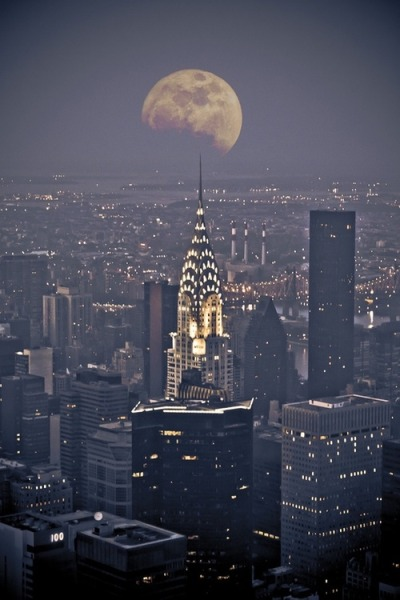 Chrysler building with moon view at night, NYC