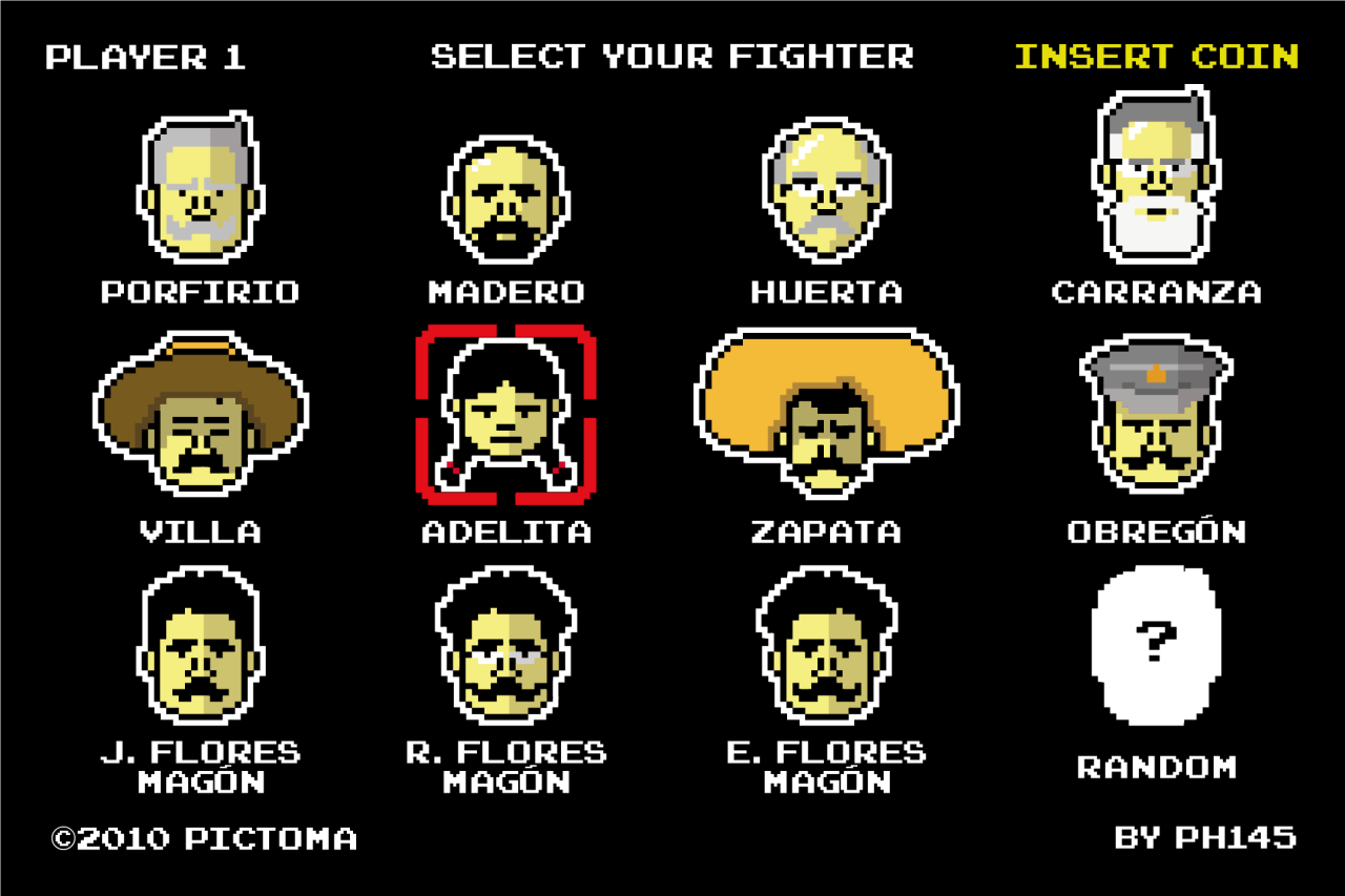 it8bit:  Mexican Fighters Note from artist: This is a illustration I made with the idea of a game with the characters of the Mexican Revolution. Created and submitted by ph145 || Facebook || Flickr