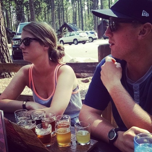This is how you do camping #theophilus style. Two of my favorite people and a 9 beer sampler @threecreeksbrewing