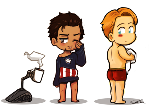 fizzsup:  I wanted to draw Tony only wearing a Captain America T-shirt then it evolved to waking up/morning fluff with Steve and Tony.
