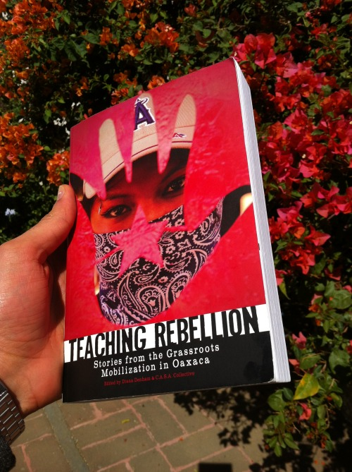 holstee:  Book Review: Teaching Rebellion, Stories from the Grassroots Mobilization in Oaxaca Before departing for Mexico, a good friend and frequent visitor to Oaxaca, Michael Cox, sent a couple copies of Teaching Rebellion to the Holstee office.  I began reading the book on the flight from New York and was instantly consumed by the stories of passion, struggle, community and hope. The book follows the stories of 23 individuals from a 9-year old whose father is kidnapped, tortured and held in a high security prison to a great grandmother who on the fateful morning of June 14, 2006 is sweeping in front of her house as protestors run from the armed repression that occurred in the earliest hours of the morning. Some stories made my heart race with excitement while others brought a tear to my eye. They all gave amazing context to this magical city. Walking now through the Zócalo, I imagine the plaza filled with 40,000 teachers. As I walk through the city and see radio towers I imagine people storming the stations and taking them over to bring voice back to the people. When I see graffiti on the walls, I remember the stories of artists using every medium to do more than spread a message but to start a conversation, to raise consciousness. To me, this book, and this city, are a reminder to stand for what we believe is just, to have hope for the world we want to live in, and to embrace others who share our values.  My book review for Teaching Rebellion originally posted on Holstee.