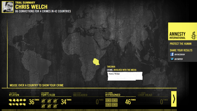 Amnesty International's 'Trial by Timeline' scans Facebook, maps out your crimes across the globe