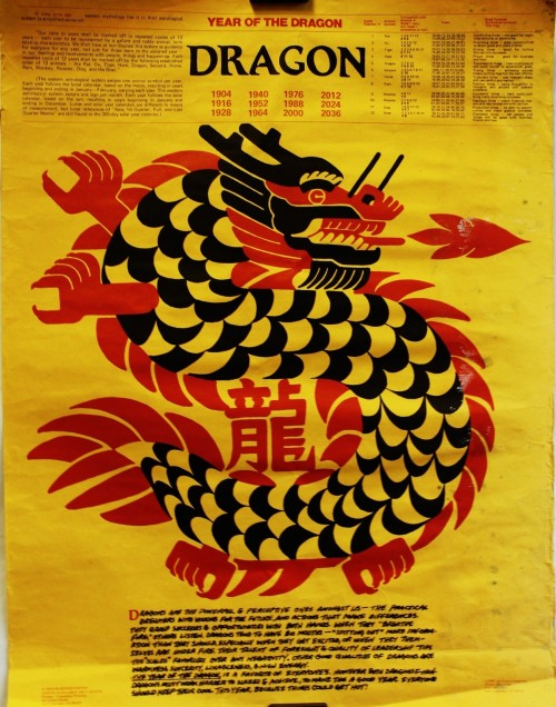 orig 1987 year of the dragon, calendar, New Year's poster by Bill Chow