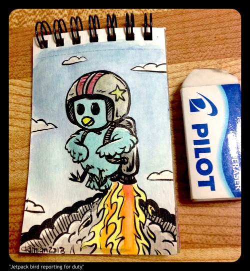 """Jetpack bird reporting for duty"" (tiny watercolour)"