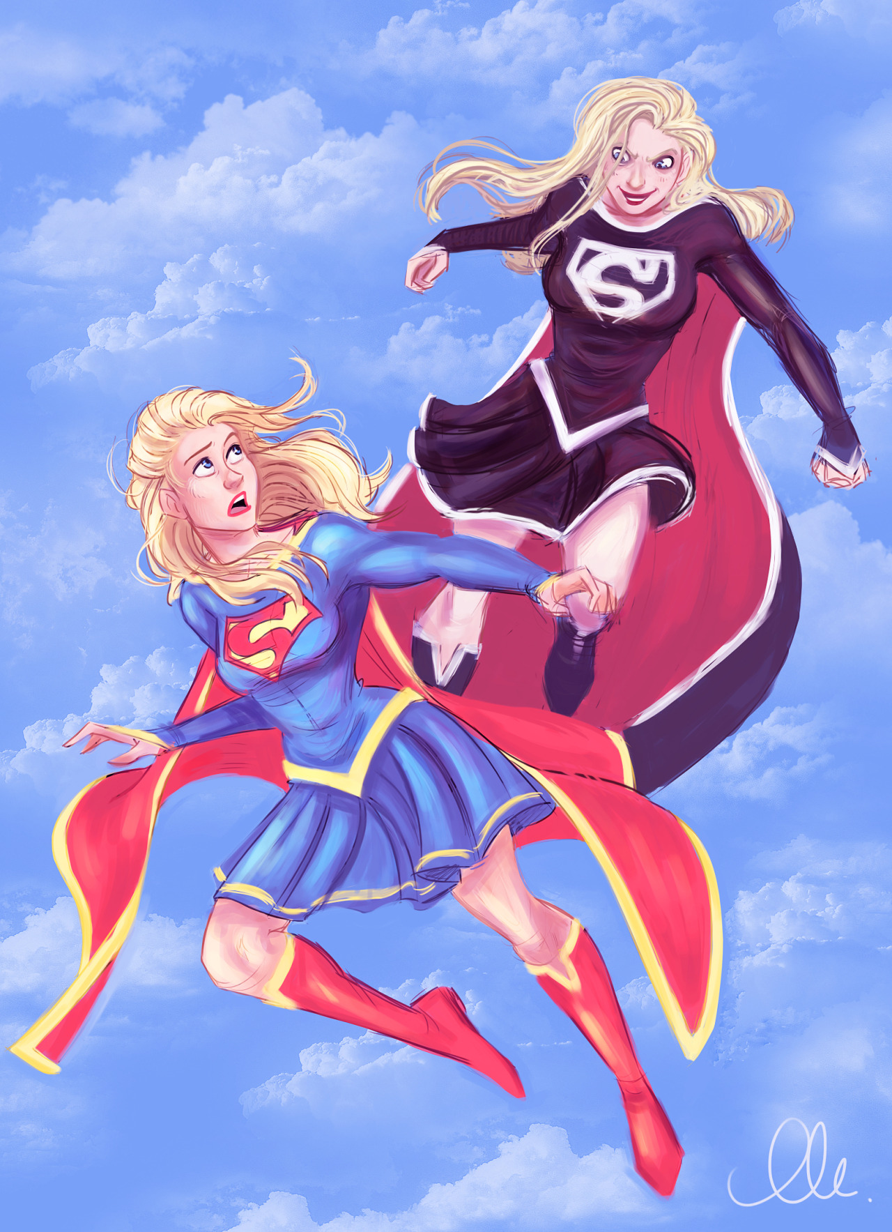 eschergirls:   thatmadgray submitted:   I did a redraw of thissupergirlimage. :)   Very nice. :)   The image this one is based on will be in a mini-essay/lesson thing I'm doing about legs soon, so pay attention to this, it'll come up again in this blog. Beautiful redraw!