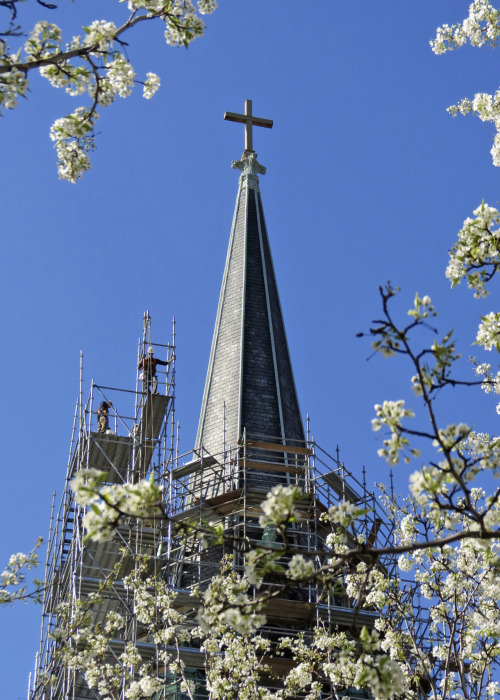 Gesu Church's east steeple renovation at Marquette University.