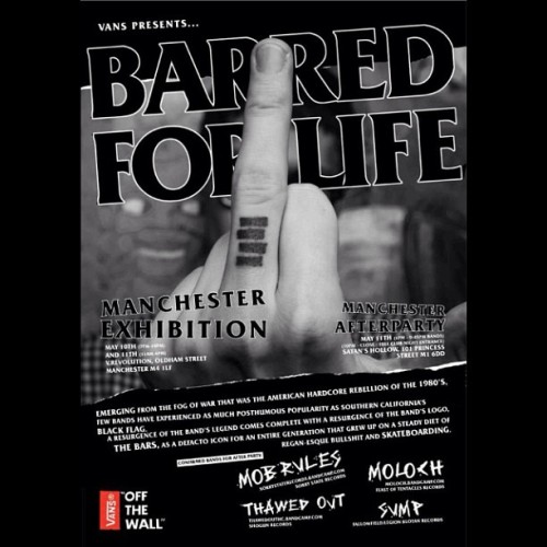 Playing Manchester on Saturday at the Barred for Life exhibition with #mobrules #thawedout #sump starts early at 6pm #moloch