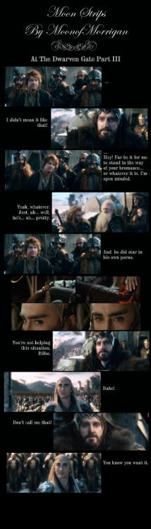 At The Dwarven Gate pt 3 #thranduil#thorin#dwarves#thehobbit#humor#fanworks#moonstrips