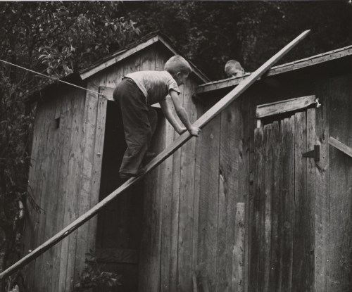 André Kertész Two boys: One Climbing a Board, One on a Fence, 1940s. Thanks to adanvc