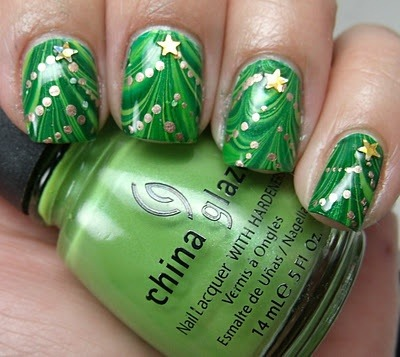college nail art these christmas tree nails are sweet