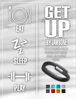 The following is a series of Jawbone UP! advertisements I created for a design class. In this project we were to render a AD campaign that would encapsulate beneficial aspects of a product and expand upon those aspects. The use of color theory, visual hierarchy, and repetition are used to create a sense of unity throughout all the pieces.