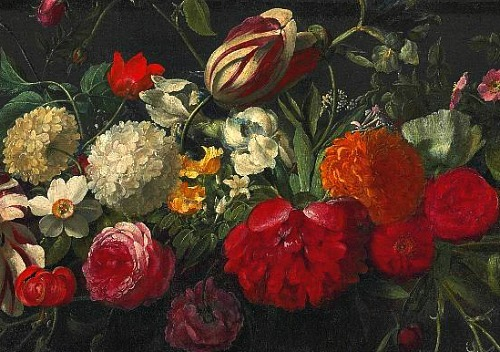 Gasper Peeter Verbruggen Floral Still Life with Brimstone Butterfly, detail 17th century