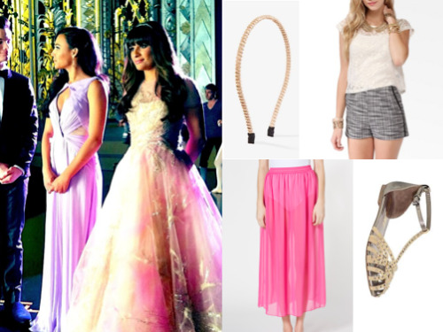 Rachel's 'At The Ballet' Outfit See the real thing! Lea, Naya and Chris all look gorgeous dressed in their on-set fancy finery, but if this isn't really an outfit your planning to wear next time you hit the shops, here's a Summery alternative. Felicia Sandals $60.00 (real courtesy of fog) Boxy Lace Top $12.50 Chiffon Full Length Skirt $46.00 (or try this) Bead Chain Headband $3.80