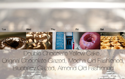 Doughnut Vault Specials Calendar 2.19.13- 2.23.13  This week things start off with the double chocolate yellow cake doughnut as our special. Then moving into Wednesday we're doing the throwback, original chocolate glazed doughnuts. Thursday the fun continues with mocha old fashioneds. Friday it's blueberry glazed doughnuts and Saturday we're offering up almond old fashioned doughnuts. It's going to be great week!