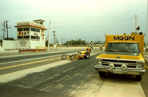 The Moon dragster and accompanying Chevy truck at the Pamona Raceway.