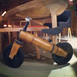 Digging this bamboo balance bike by Diego Cardenas! There is carbon fiber to smooth the edges for safety. And the bike hardware is salvaged. #icff #bike #bikes #design
