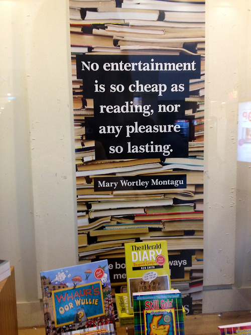 "bookmania:  ""No entertainment is so cheap as reading, nor any pleasure so lasting."" ~ Mary Wortley Montagu (Photo by selftail0redmess)"