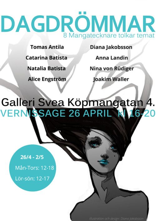 Me and a bunch of other artists are having an art exhibition in Stockholm. so if you're a Swede or in Sweden at the time, why not stop by(this poster & art was what I was working on yesterday)