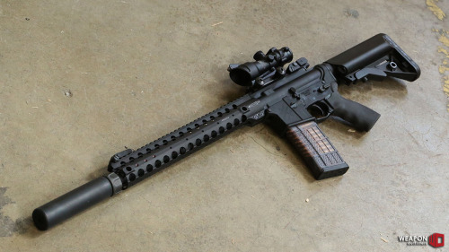 "weaponoutfitters:  The new Centurion Arms Modular Rail in 14"", along with a 14.7"" barrel with pinned/welded suppressor mount, and Surefire SOCOM quick attach/detach suppressor!"