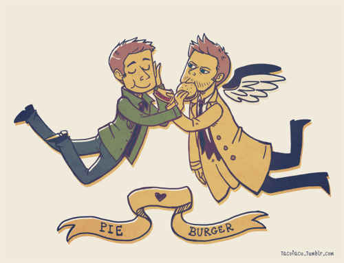 disciple-catastrophe:  Pie x Burger OTP - Destiel by ~taconaco