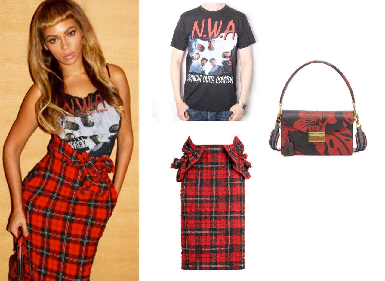 Beyoncé was wearing N.W.A custom tank top, Simone Rocha tartan ruffle pencil skirt and Prada Saffiano hibiscus bag