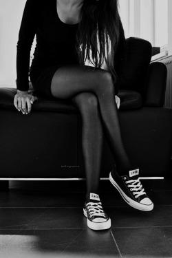 hair Black and White beautiful white style skinny thin black Legs all long star Chucks sit