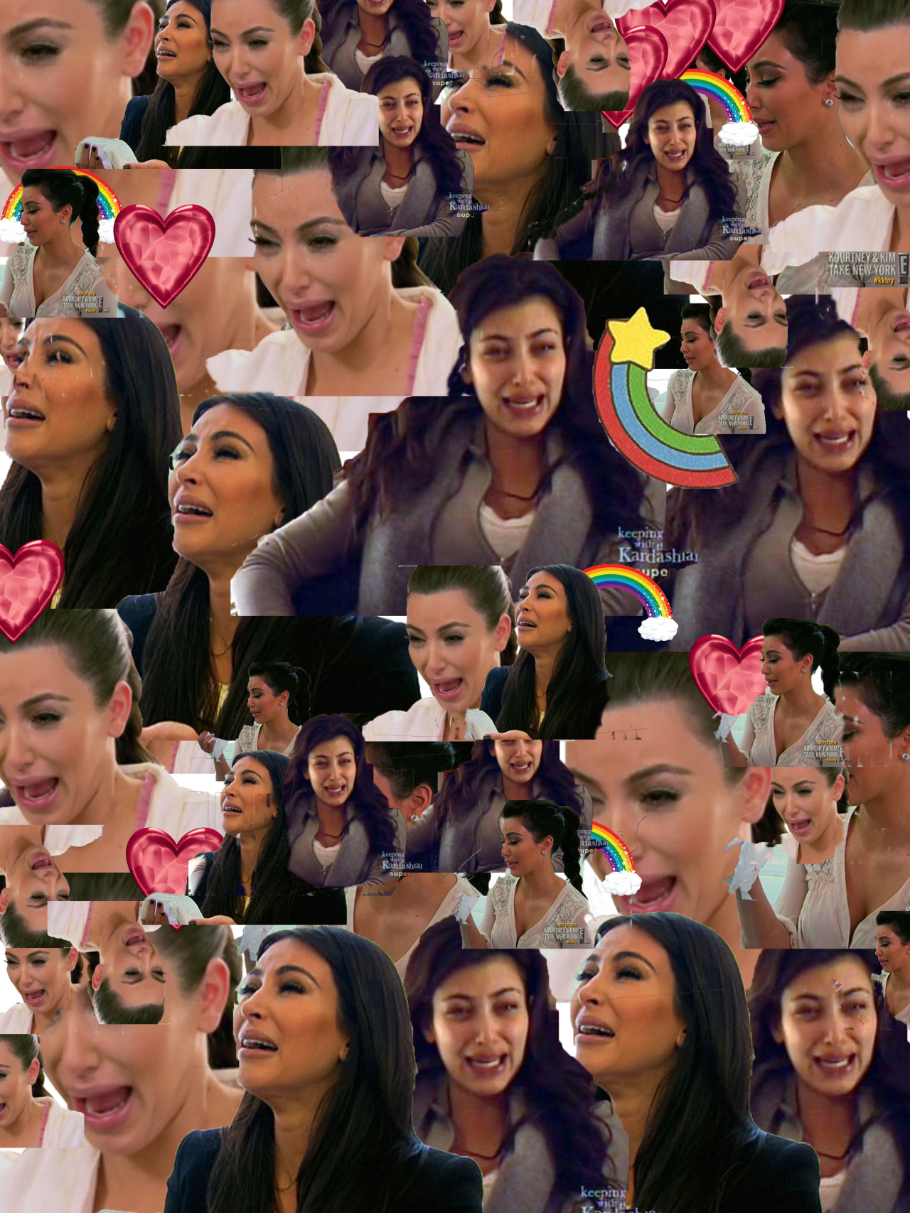 leprinceimaginaire:  a collage of kim kardashian crying (with added rainbows and hearts)