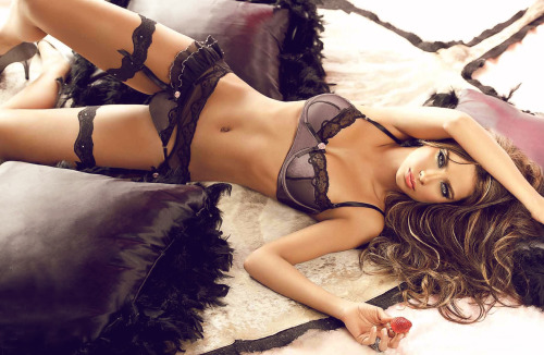 lavinialingerie:  Brown #Lingerie - Lace trim Balcony Bra & Sexy Sheer Garter Belt/String Thong Set