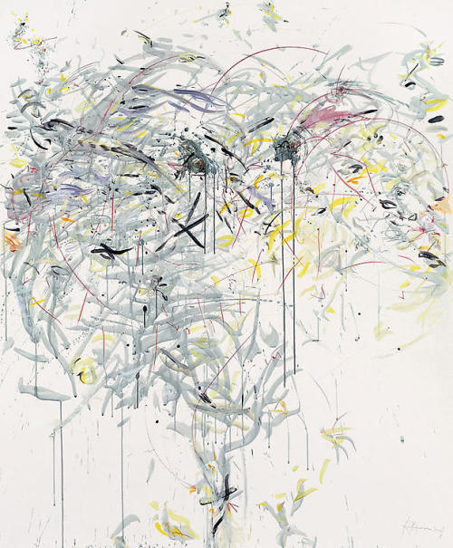 yama-bato:  Rebecca Horn / Tree of Winter Dew Drops / 2007 / pencil, colored pen, acrylic, and India ink on paper / paper: 71 5/8 x 59 1/8 inches (182 x 150 cm) framed: 81 1/2 x 68 3/4 inches / Sean Kelly Gallery