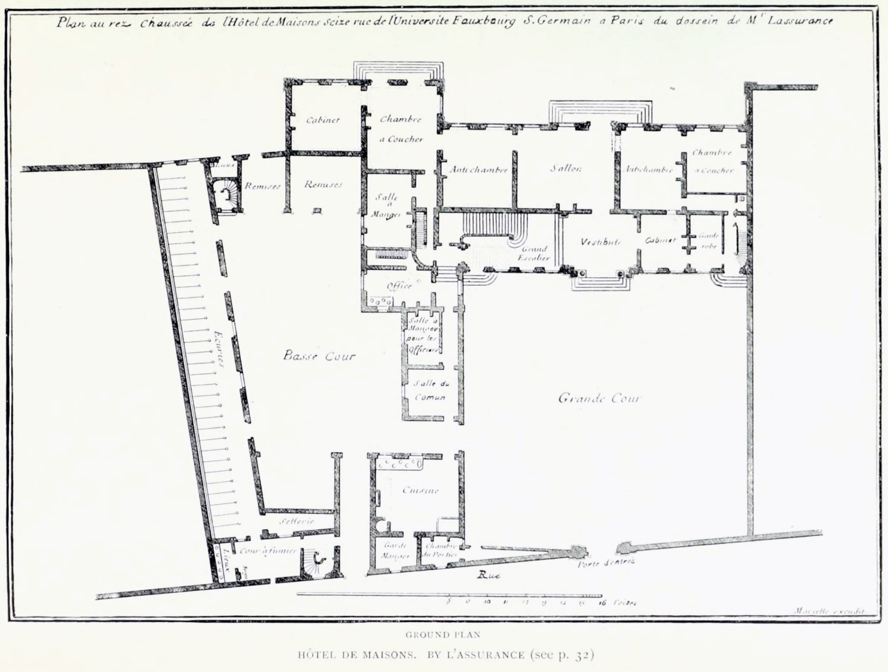 L'Assurance's plan for the Hôtel de Maisons, Paris