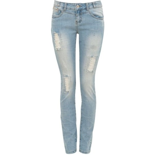 34in Pale Blue Rip Skinny Jeans   ❤ liked on Polyvore (see more light jeans)