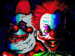 Killer Klowns From Outer Space in 8-Bit on a ZX-Spectrum. More ZX-Spectrum art on this site.