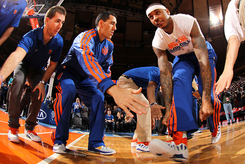nba:  Carmelo Anthony and Pablo Prigioni of the New York Knicks pre-game against the Denver Nuggets on December 9, 2012 at Madison Square Garden in New York City.  (Photo by Nathaniel S. Butler/NBAE via Getty Images)