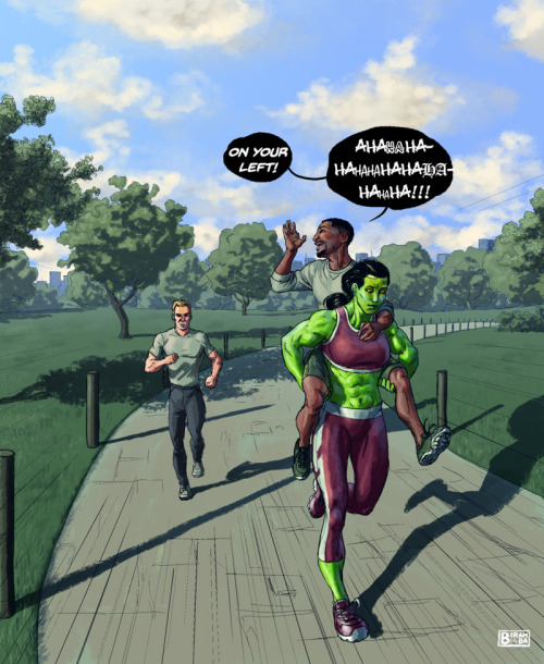 thehappysorceress:  biram-ba:  I was watching The Incredible Hulk cartoon from the 90's, and in one of the episodes She-Hulk chases on foot after a stolen sports car. My brain suggested this. I liked the suggestion.  Brilliant.