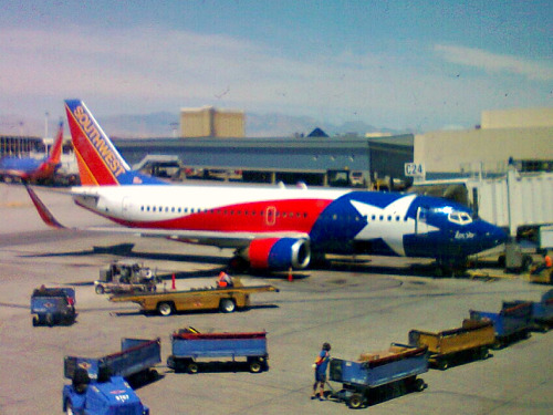 I flew from Law Vegas back to San Diego today on Southwest Air's Lone Star One. Sorry for the gritty photo from my cell.