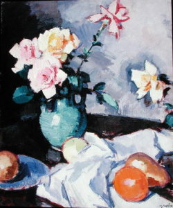 Roses by Samuel John Peploe.  [1920-1925].  Studying art always presents fantastic surprises. This morning, I discovered a still life by Samuel Peploe, a Scottish painter in the early teens of the 20th century.  Now, I'm on a quest to research all of his work, sketch and study his techniques.  Its evident during the early 20th century the linear and edgy influence of cubism in his work.  In the 1920's it seemed his work began to smooth out, yet adopt many of the geometric principles are still utilized.                                                                  Still Life of Fruit,  Samuel Peploe   I'd like to share the Google image search of Peploe and roses - it's a visual fireworks show of hundreds of beautiful floral still life.  Has the textural and brushwork of Cezzane and the bright hues of Kandinsky.  Peploe's use of dark blacks in shadowing and edges brings the light whites and cream colors alive.  Something I don't think I have the courage to attempt in my work.                            Roses in a Brown Jar by Samuel Peploe  National Galleries of Scotland has a nice collection of his work.  I'm off to grab some pastels, a pad and experiment with some of Peploe's concepts. I'll post some pictures later.  What do you think of his work?  Let me know your reactions.