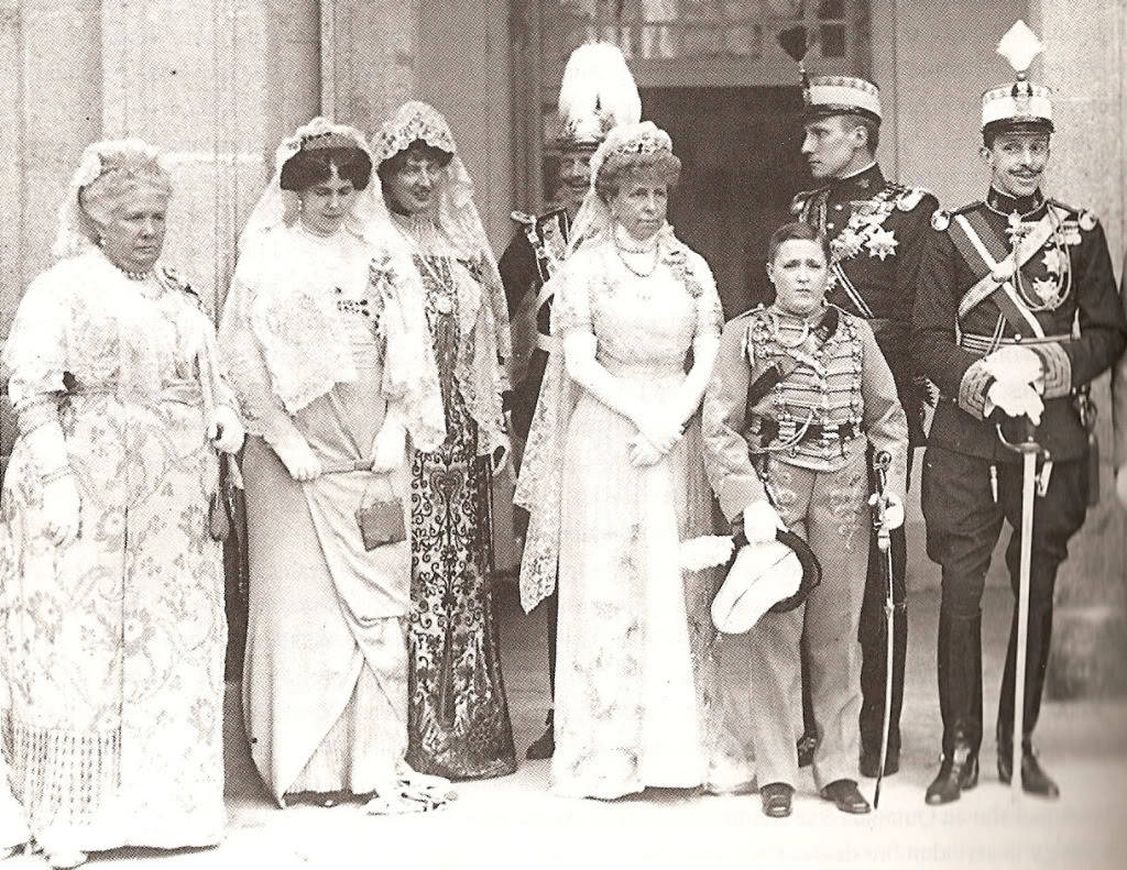 Members of the Royal Family at the Baptism of HRH the Infanta Beatriz, daughter of King Alfonso XIII in 1913. (The Infanta Isabel (La Chata), Infanta Beatriz (Baby Bee), Infanta Luisa, Queen María Cristina (Crista), Infante Alfonso, Infante Alfonso de Orléans (Ali) and King Alfonso XIII)