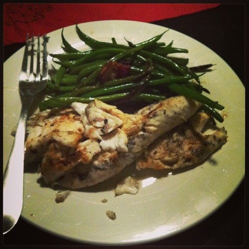 Talapia with green beans and bacon.  (at Winn & Wells)