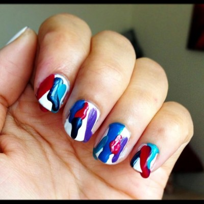 My new nail art for @karlapowellmua 💜BeInspired💙 competition! I created a twist on the colour run theme! #nails #colourrun #beauty