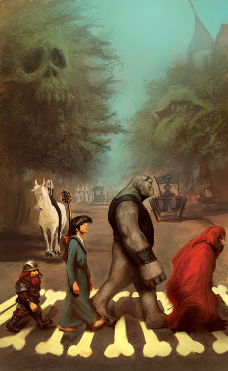 the most famous zebra crossing in Ankh Morpork.cover by Marc Simonetti.