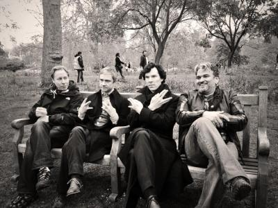 "sherlockology:  ""Thanks Guys… It's been emotional"" - Steve Lawes, 21st May 2013 (From left to right: Steve Lawes, Martin Freeman, Benedict Cumberbatch, Arwel Wyn Jones)"
