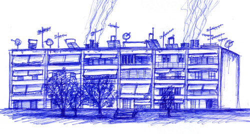Social Housing for the Refugees in Dourgouti (Ballpoint Pen)
