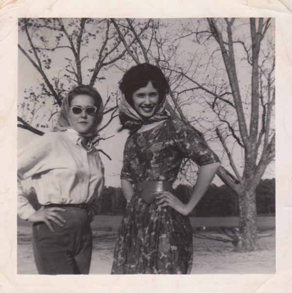 ghostwh:  My Mother (center) looking pretty and classy in a dapper dress and sash, and a pretty fierce pose for a farm girl.